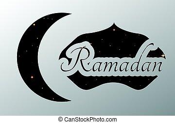 Ramadan crescent paper template. vector background