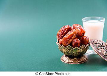 Ramadan, Dates in golden bowl, Milk, arabian Aladdin golden lamp vintage style