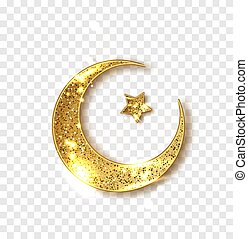 Ramadan decoration isolated. Gold shiny glitter glowing half moon with star isolated. Crescent Islamic for Ramadan Kareem design element. Vector illustration