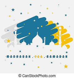 Ramadan design with silhouette of mosque