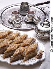 Ramadan dessert baklava and turkish coffee