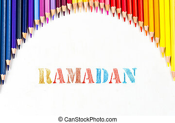 ramadan drawing by colour pencils on white background