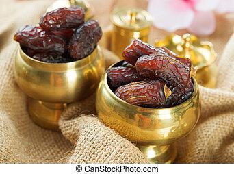 Ramadan food dates fruit. - Dried date palm fruits or kurma,...