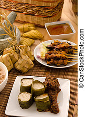 ramadan food lemang rendang and satay ,focus on lemang