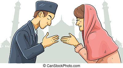 Ramadan Forgiveness - cartoon illustration of celebration...