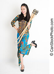 Ramadan girl - Full body portrait of Southeast Asian woman...