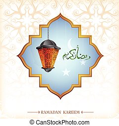 Ramadan greeting card design with lantern - Ramadan...