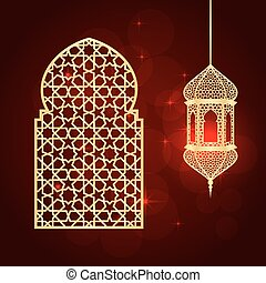 ramadan greeting card - Ramadan greeting card on red...