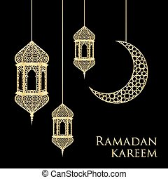 ramadan greeting card - Ramadan greeting card on black...