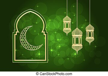 Ramadan greeting card on green background. illustration.