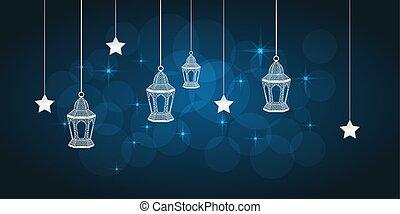 Ramadan greeting card on blue background. Vector...