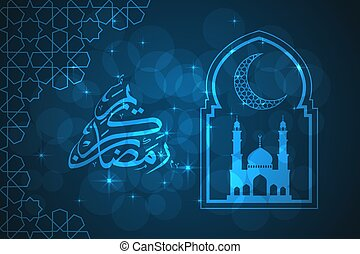 Ramadan greeting card on blue background. Vector...