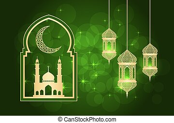 ramadan greeting card - Ramadan greeting card on green...