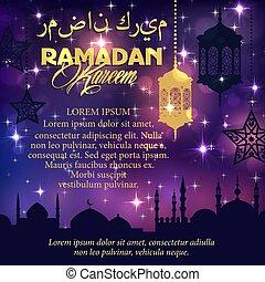 Ramadan greeting card with mosque in night sky