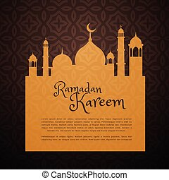 ramadan greeting card with mosque silhouette
