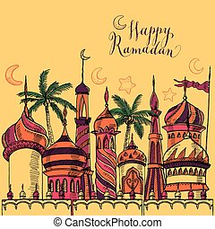 Ramadan greeting illustration with silhouette of mosque....