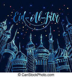Ramadan greeting illustration with silhouette of mosque on...