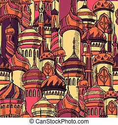 Ramadan greeting seamless pattern with mosque. Multicolor...