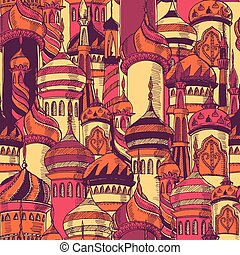 Ramadan greeting seamless pattern with silhouette of mosque....