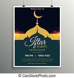 ramadan, iftar, plantilla, invitación, fiesta, kareem