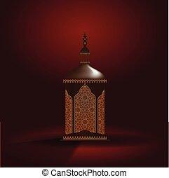 ramadan, illustratie, realistisch, vector, lantern., 3d, kareem