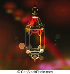 ramadan), iluminado, saludo, ramadan, lámpara, (generous, ...
