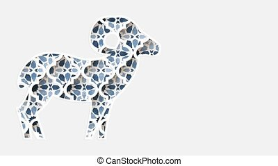 ramadan, islamique, animation, par, arrière-plan., ul, graphique, eid, étoiles, ornamnetal, en mouvement, arabe, géométrique, silhouette, blanc, sheep., design., loopable, adha, arabesque, modèle, traditionnel, bleu