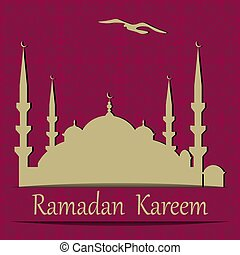 Ramadan Kareem. A blue mosque cut from paper. Background in the style of oriental ornament. illustration
