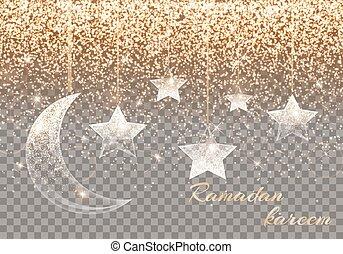 Ramadan kareem arabic art - Luminous background with light...