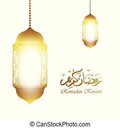 Ramadan kareem arabic calligraphy greeting with gold lantern