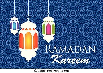Ramadan kareem arabic pattern lanterns fanous background