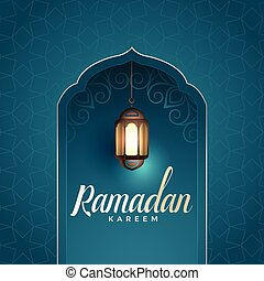 ramadan kareem awesome design with hanging lamp