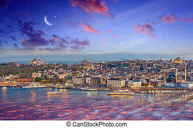 Ramadan Kareem background, sunset view of Istanbul from Galata tower