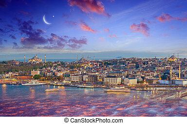 Ramadan Kareem background, sunset view of Istanbul from Galata tower