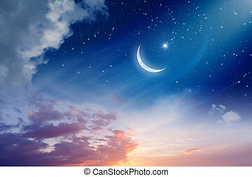 Ramadan Kareem background with crescent moon and stars