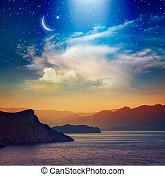 Ramadan Kareem background with crescent, stars and glowing clouds