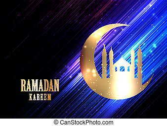 Ramadan Kareem background with glowing lights, crescent and mosque silhouette 1203
