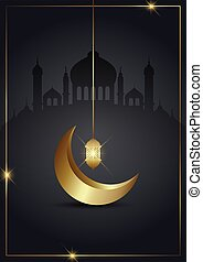 Ramadan Kareem background with gold crescent and hanging lantern