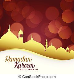 ramadan kareem background with golden mosque
