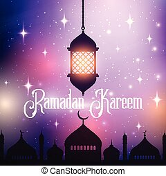 ramadan kareem background with hanging lantern and mosque silhouette 0803