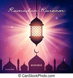 Ramadan Kareem background with hanging lantern and mosque silhouette