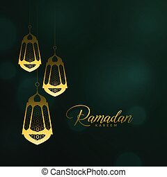 ramadan kareem background with hanging lanterns