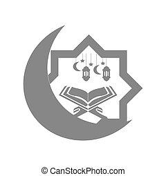 Ramadan Kareem Background with Lamps and kuran.