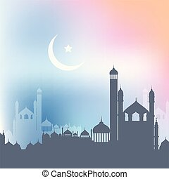 ramadan kareem background with landscape of mosques 2404