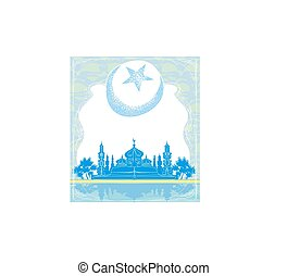 Ramadan Kareem background with moon and mosque silhouettes