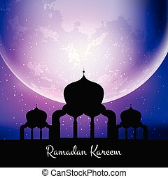 ramadan kareem background with mosque against moon 0504