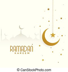 ramadan kareem background with mosque and golden moon
