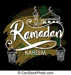 Ramadan kareem background with mosque and hanging lamps.