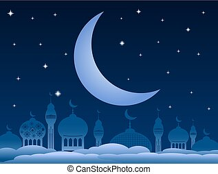 Ramadan kareem background with mosque and moon on night sky. Vector Illustration