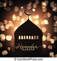 Ramadan Kareem background with mosque silhouette against gold bokeh lights